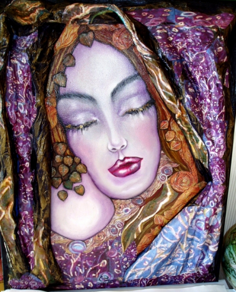 Tableau Peinture Portrait Femme Huile Sur Toile Collage En Relief