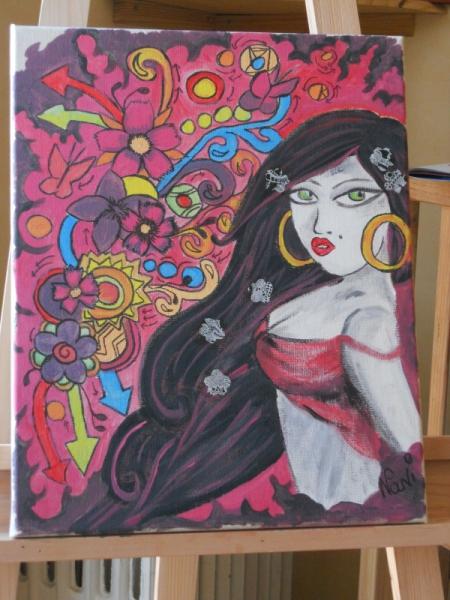 TABLEAU PEINTURE portrait femme latine graffiti Bomba Latina