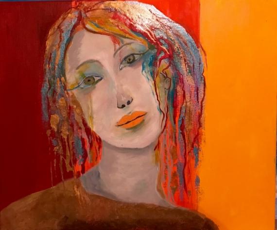 Tableau Peinture Portrait Femme Moderne Mélancolie Mélancolie
