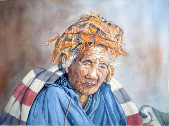 Tableau Peinture Portrait Femme Portrait Ethnique Femme Aquarelle