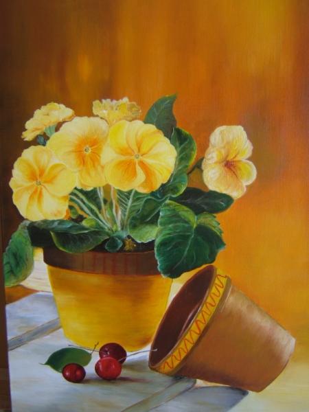 Tableau Peinture Pot Fleurs Primeveres Cerise Primeveres