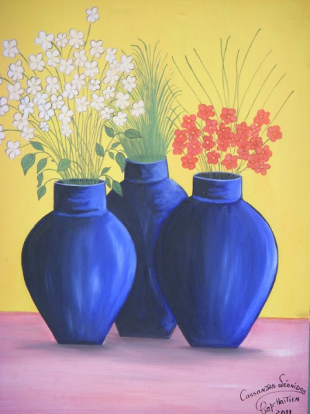 Tableau Peinture Pots Fleur Fruits Eau Pots De Fleurs