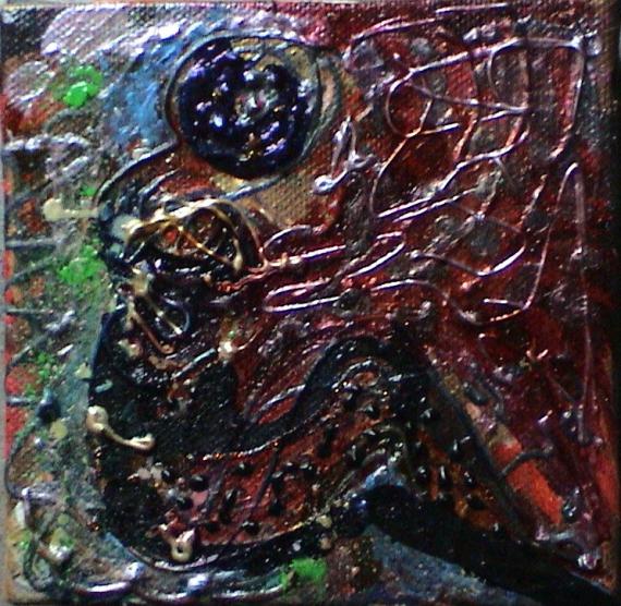 TABLEAU PEINTURE profil femme reliefs poétique - Le salon rouge