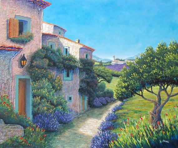 Tableau peinture provence paysage maison lavande magie d 39 un chemin de provence - Chemin de table lavande ...
