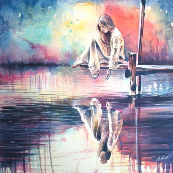 Tableau Peinture Reflet Eau Femme Reve Le Miroir Des Reves