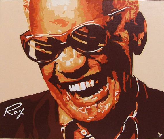 "TABLEAU PEINTURE rhythm and blues chanteur,compositeur concerts géorgia on my mind Personnages Acrylique  - RHYTHM AND BLUES 2  "" RAY CHARLES """