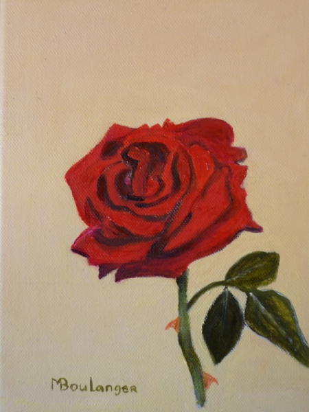 Tableau Peinture Rose Rouge Rose Rouge