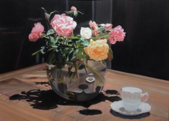 TABLEAU PEINTURE roses bouquet fleurs clair,obscur Fleurs Pastel , Roses en  clair,obscur