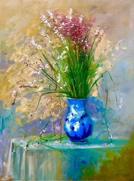 TABLEAU PEINTURE roses fleurs vase naturemorte Fleurs Peinture a l\u0027huile ,  le bouquet NZ10