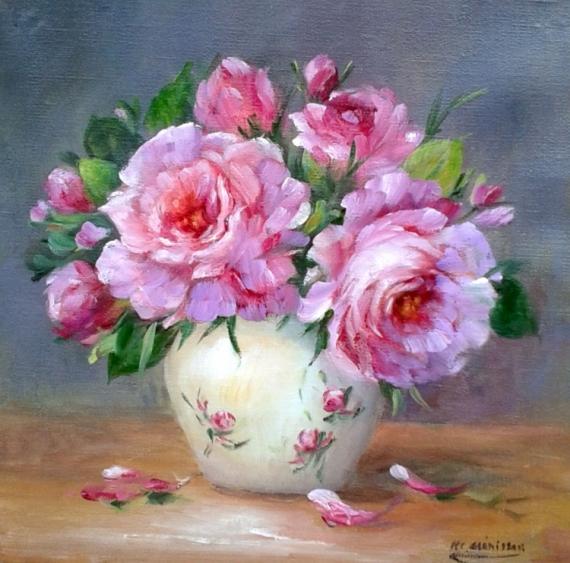 Tableau Peinture Roses Peinture Decoration Cadre Creation Galerie Bouquet De Roses