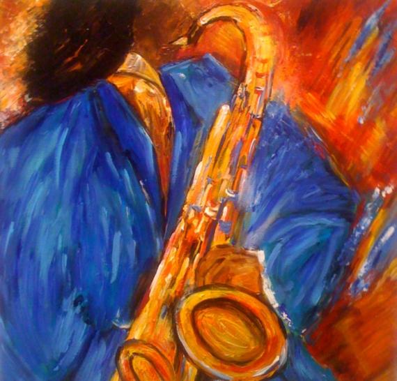 Tableau Peinture Saxo Musique Moderne Jazz Le Saxophoniste Bleu Ii