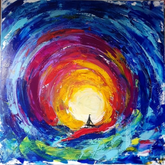 TABLEAU PEINTURE soleil abstraction silhouette mouvement - Mouvement de la  Pienture: Pingouin
