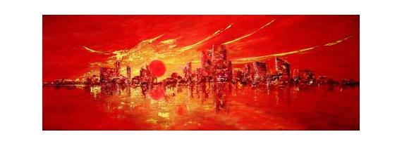 Tableau Peinture Soleil Couchant Ville Peinture Deco Abstrait