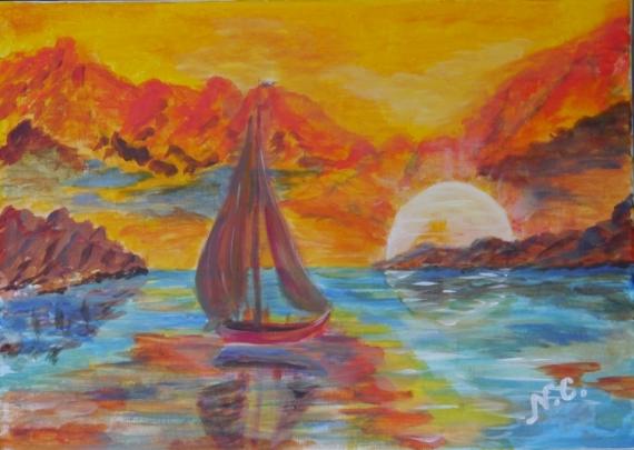 Tableau Peinture Soleil Mer Voilier Couchant Soleil Couchant