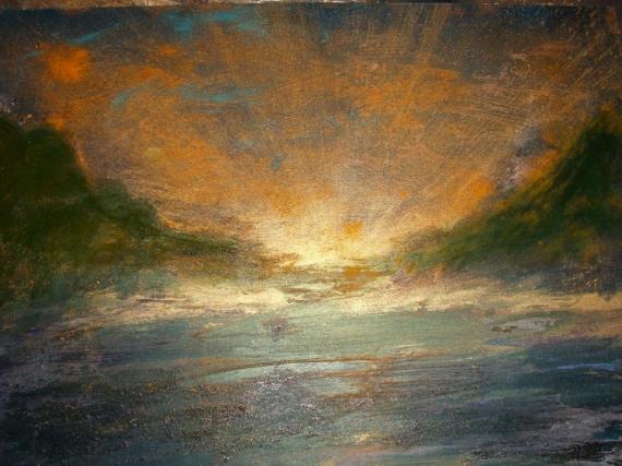 Tableau Peinture Soleil Or Lumiere Lever De Soleil