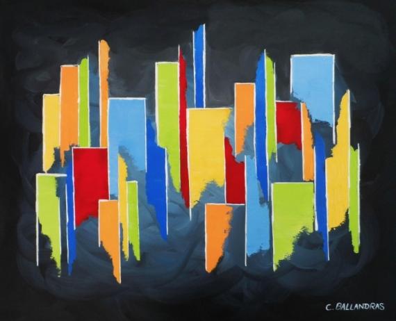 Tableau Peinture Tableau Multicolore Bleu Rouge Jaune Noi Moderne Formes Geometriques Color City