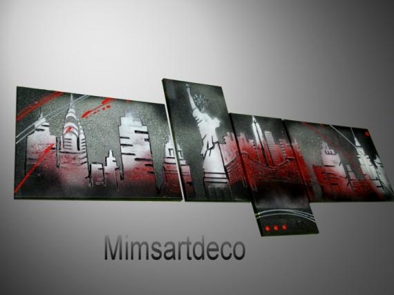 Charmant TABLEAU PEINTURE Tableaux Abstraits Peinture Moderne Tableau Contemporain Decoration  Murale Villes   Tableau Abstrait New York