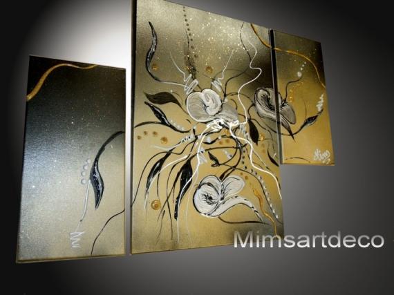 Superbe TABLEAU PEINTURE Tableaux Abstraits Tableaux Design Home Deco Decoration  Murale Fleurs   Tableau Moderne
