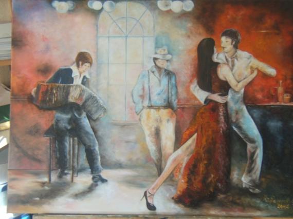 Tableau Peinture Tango Accordéoniste Bar Danse Tango