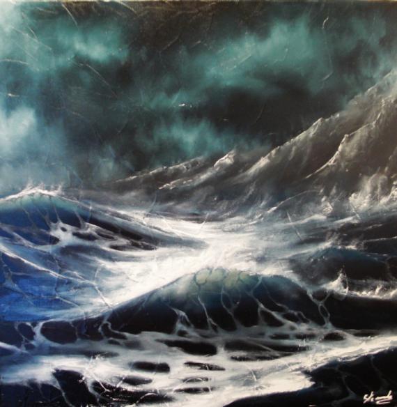 Tableau Peinture Tempête Mer Vague Océan Tempête En Mer