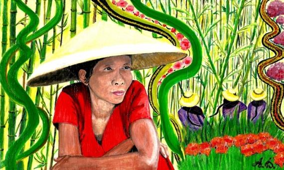 TABLEAU PEINTURE Thaïlande bambou Asie femme