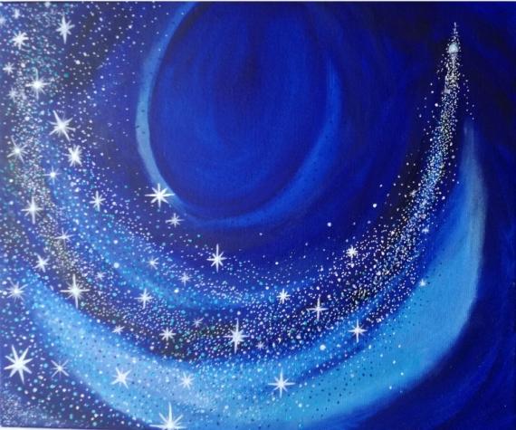 Tableau Peinture Toile Féérique étoile Filante Imaginaire