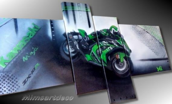 Tableau Peinture Toile Moderne Moto Kawasaki Ninja Vert Tableau