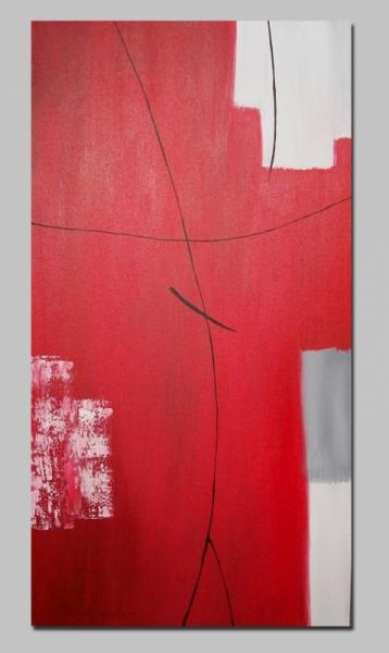 TABLEAU PEINTURE toile moderne rouge abstrait - tableau ...