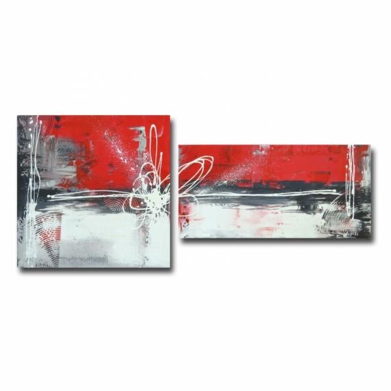 TABLEAU PEINTURE toile rouge moderne design