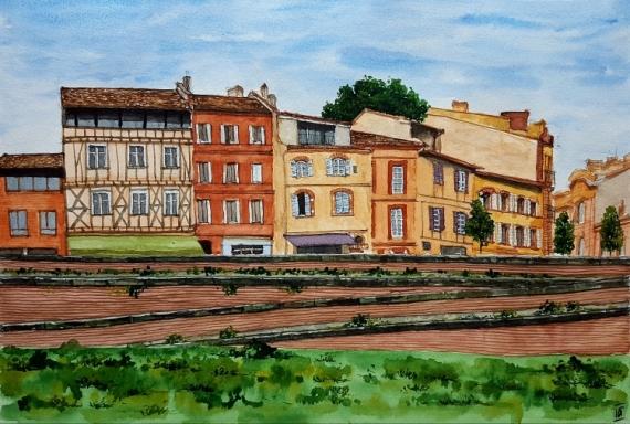 Tableau Peinture Toulouse Quai Daurade Maison A Colombages Haute Garonne Toulouse