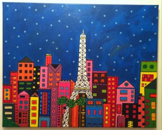 Tableau Peinture Tour Eiffel Paris Ville Buildings Colorful Paris