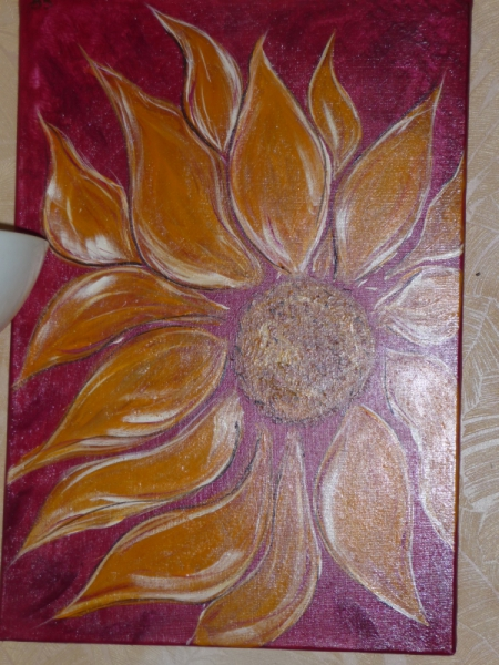 Tableau Peinture Tournesol Rouge Orange Fleur Tournesol