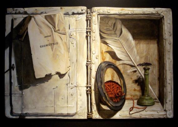 Tableaux Peinture Trompe Oeil tableau peinture trompe l'oeil boîte insecte plume - la boîte au