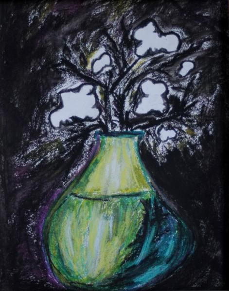 Tableau Peinture Vase Fleurs Noir Et Blanc Fleurs De Coton