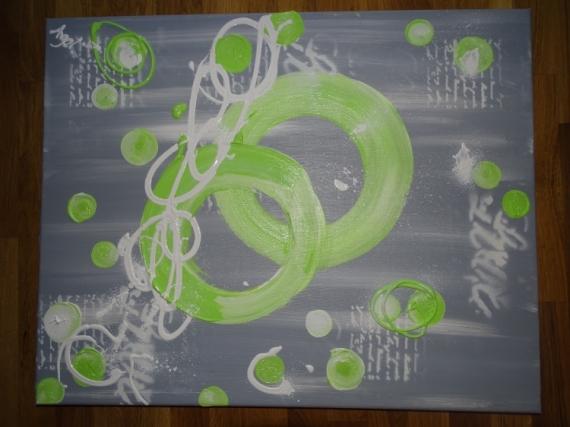TABLEAU PEINTURE vert anis gris blanc moderne doux ...