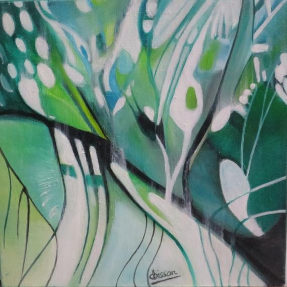 TABLEAU PEINTURE vert blanc noir - Mouvement de la nature