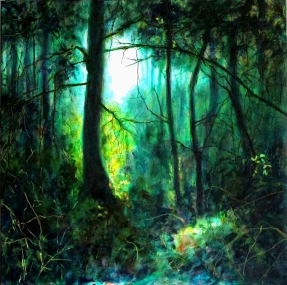 Tableau Peinture Vert Bleu Lumière Promenade Forêt Iii