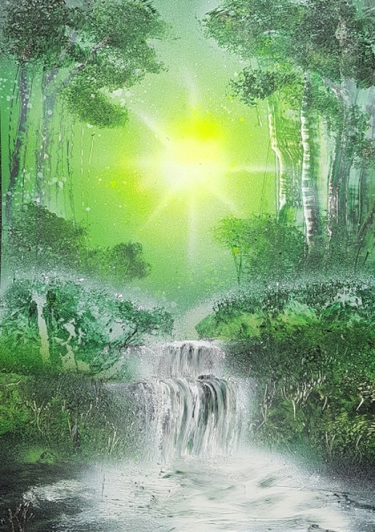 Tableau Peinture Vert Forêt Cascade Spray Paint Forêt Verte
