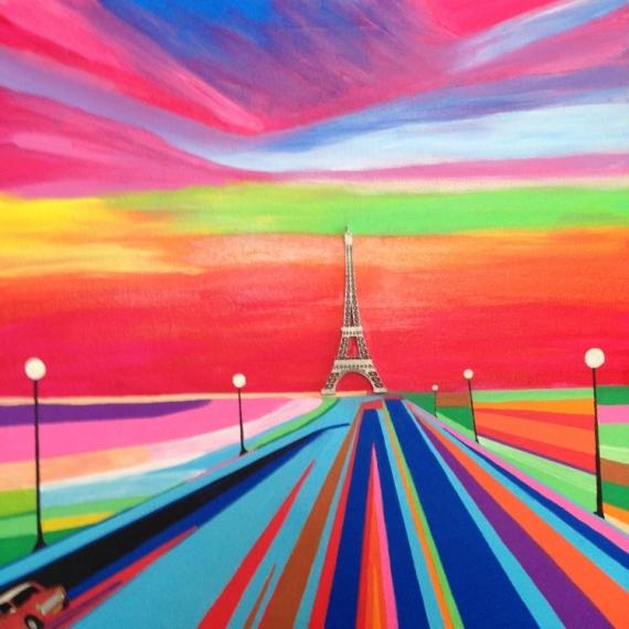 Tableau Peinture Ville Paris Tour Eiffel Vers Paris