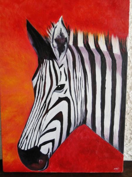 Tableau Peinture Zèbre Rouge Afrique Blanc Zèbre