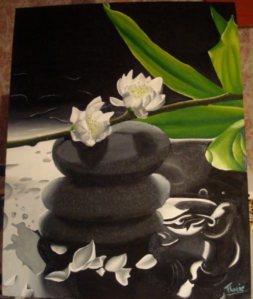 TABLEAU PEINTURE Zen Eau Fleur Pierre - Ambiance