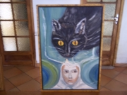 tableau personnages chat visage pensee chevaleyre : pensee feline