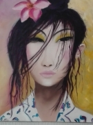 tableau personnages chinoise yeux regard fleurs : MYRIAM