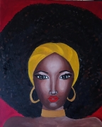 tableau personnages femme afro rouge africaine : femme afro