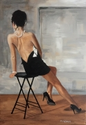 tableau personnages femme assise dos nu robe noire : Brune assise dos nu