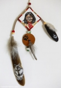 tableau personnages geronimo indien loup pattes : Go khla yeh dream catcher