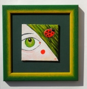 tableau personnages herbe oeuil visage : Coccinelle