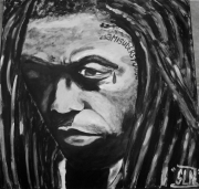 tableau personnages hip hop rap music star : LIL WAYNE by SLN