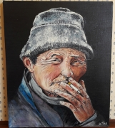 tableau personnages huile portrait homme tibetain : tibetain