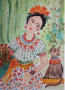 tableau personnages kahlo cat and frida dessin imaginaire aquarelle encadree personnage chat : kahlo cat and Frida
